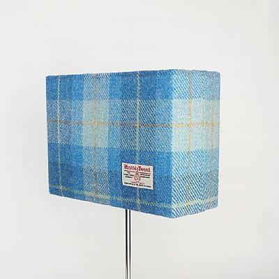 harris tweed blue plaid rectangular lampshade by roses workshop