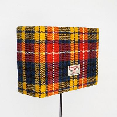 harris tweed rectangular lampshade in bright tartan design by roses workshop