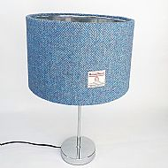 Large drum lampshade blue herringbone with silver inside