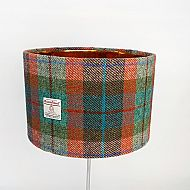 Large drum lampshade brick turquoise tartan with gold inside