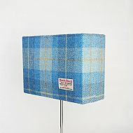 Medium rectangular lampshade blue tartan