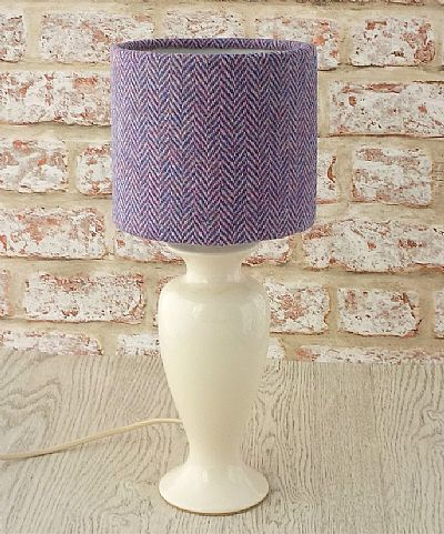 harris tweed drum lampshade in pink and blue herringbone by roses workshop