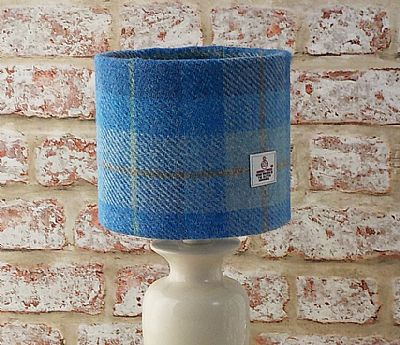 blue and white harris tweed lampshade by roses workshop