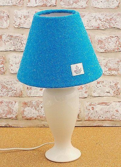bright blue harris tweed cone lampshade byr roses workshop