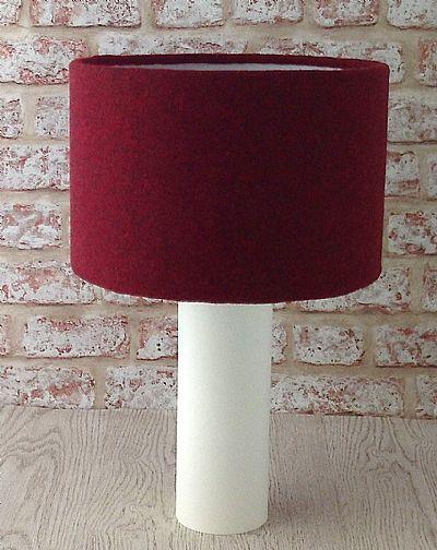 large drum lampshade in dark red harris tweed by roses workshop