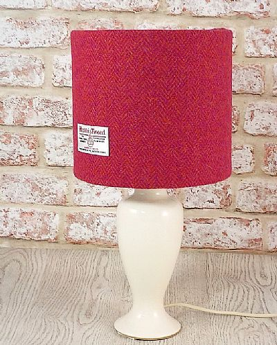 harris tweed drum lampshade in pink and orange herringbone by roses workshop