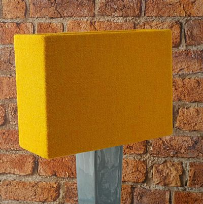harris tweed golden yellow lampshade rectangle shape by roses workshop