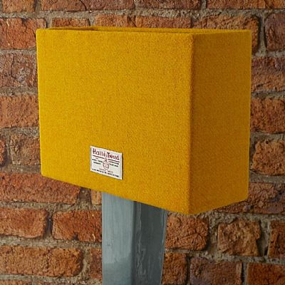 harris tweed rectangular lampshade in golden yellow by roses workshop