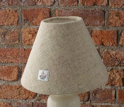 harris tweed cream cone shaped lampshade by roses workshop