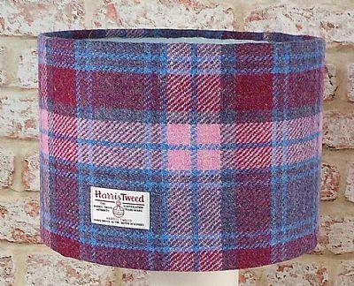 large drum lampshade in pink and blue tartan harris tweed by roses workshop