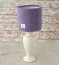Small drum lampshade pink lilac herringbone