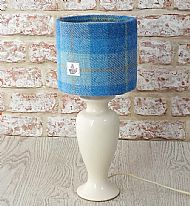 Small drum lampshade bright and pale blue tartan