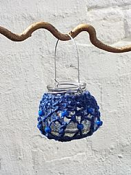 blue tealight holder small