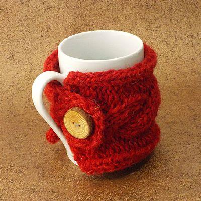 british wool bright red mug cosy by roses workshop