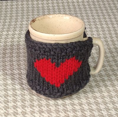 knitted wool grey mug cosy with red heart