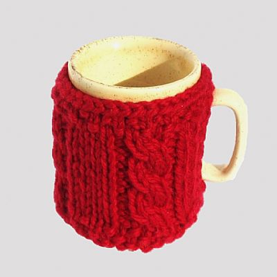 red wool mug cosy by roses workshop