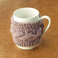 Lilac wool knitted mug cosy with wooden button