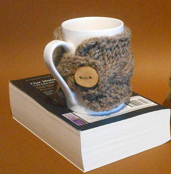 british wool knitted mug cosy by roses workshop