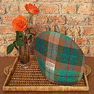 Harris tweed tea cosy brick red and turquoise green