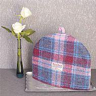 Harris tweed tea cosy pink blue magenta tartan