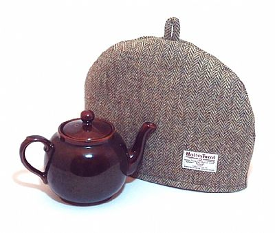lovat green harris tweed tea cosy by roses workshop