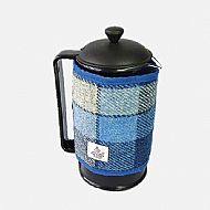 Cafetiere wrap in blue and white Harris tweed