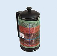 Harris tweed cafetiere wrap brick red turquoise green