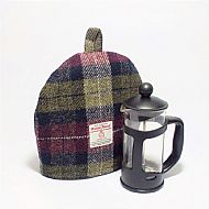 Cafetiere cosy wine red and olive green