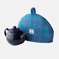 Harris tweed small tea cosy bright blue