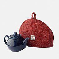 Harris tweed small tea cosy red grey herringbone