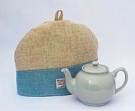 Harris tweed tea cosy cream and blue