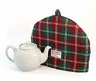 Harris tweed Christmas tea cosy red and green