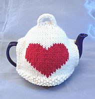 Red heart knitted wool tea cosy