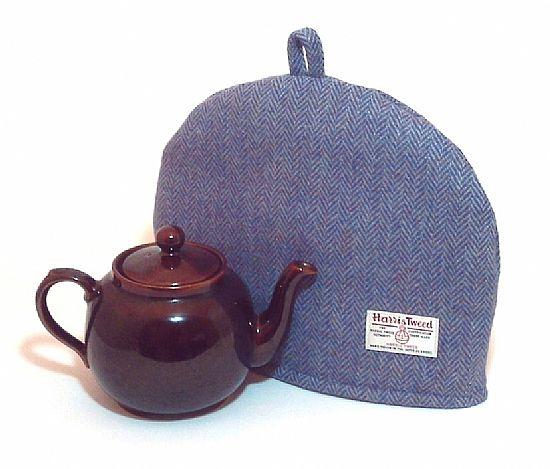 harris tweed tea cosy in blue herringbone by roses workshop