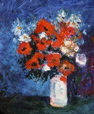 Poppies in white vase