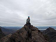 Di on the summit cairn of Sgurr Dubh an da Bheinn.