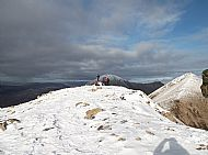 Students from West Highland College UHI Outdoor Adventure course on Beinn Dearg Mheadonach, Red Cuillin, Skye.