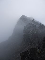 Looking up the NW ridge of Bruach na Frith, Skye Cuillin