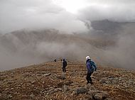 Students from Portree High School on a day out with West Highland College UHI - descending Beinn Dearg Mhor, red Cuillin.