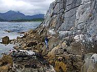 Sea level traversing at Camas Malag, Skye