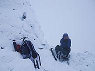 The huge summit cairn on A'Chralaig, Cluanie.
