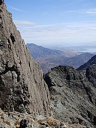 The first pitch of the Inaccessible Pinnacle, Skye Cuillin.