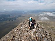 Sally & Claire from Seattle, USA, on the NW ridge of Bruach na Frithe, Cuillin