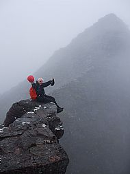 Lord Berkeley's Seat, An Teallach. Sgurr Fiona looming out of the mist behind.