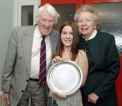 davids parents crad and anne roberts with the first winner of the award lauren weir - copyright of lindsay addison