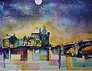 Moon shining on Eilean Donan Castle