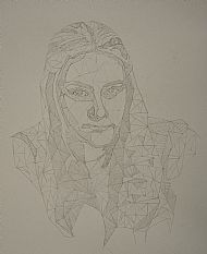 Self portrait, line drawing by Carina