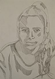 Self portrait, line drawing by Sarah