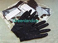 Black Competition Gloves with Crystals