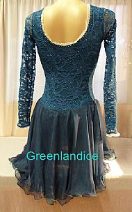 Sarah design in Teal/Jade Ice Dance Dress Back View